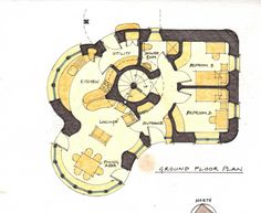 Cob! Floor plan for a two story house. Bigger than what we want or need, but it is beautifully designed. Love the ideas!