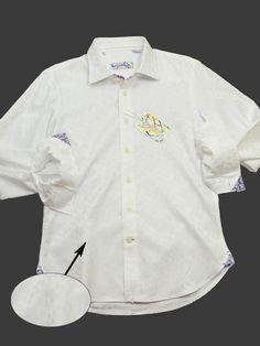 Brandolini 20352 100% Cotton Boy's Sport Shirt - Tonal Geometric Pattern - White, Modified Spread Collar