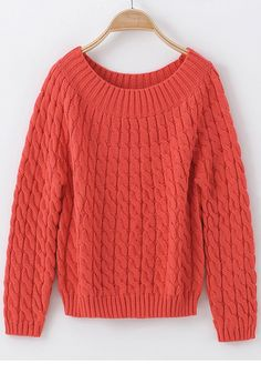 Skin Red Geometric Round Neck Wool Blend Sweater