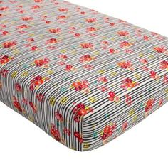 Floral Pop Stripe Crib Fitted Sheet | The Land of Nod