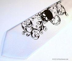 White Skull wedding tie mens white tie RokGear silk by RokGear