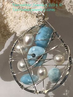 Genuine Larimar and Fresh Water Pearl Cluster by TerraMarJewelry
