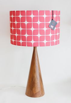 Lamp Shade  14 Drum   Raspberry Geometric  by MOODDESIGNSTUDIO, $85.00
