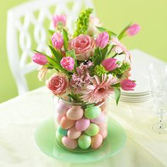 Pink Tulips and Roses in Candy coated chocolate egg filled vase
