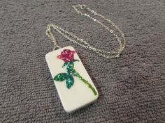 "Glitter Shiny Red Rose Domino Necklace Jewelry On A Silver Chain 18"" #Handmade #Chain"