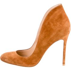 Pre-owned Gianvito Rossi Round-Toe Pumps ($245) ❤ liked on Polyvore featuring shoes, pumps, neutrals, brown round toe pumps, round cap, brown suede pumps, brown shoes and gianvito rossi shoes
