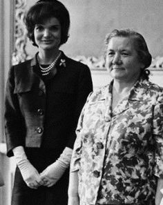 FIRST LADY JACQUELINE KENNEDY and Nina Khrushchev:  Cold War meeting over warm lunch. (1961)