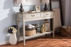 Arte French White Wash Distressed 2-Drawer 1-Shelf Console Table WL-0447-WI