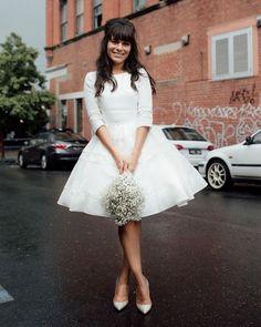 27 Amazing Short Wedding Dresses For Petite Brides ❤ short wedding dresses with three quote sleeves freethebird #weddingforward #wedding #bride #weddingoutfit #bridaloutfit #weddinggown