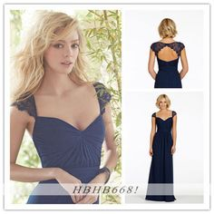 Navy Blue Long Chiffon Bridesmaid Dresses To Wedding Party Stock Size Wholesale