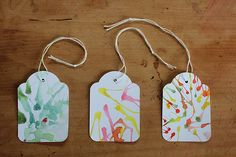 three hand painted gift tags from bubala