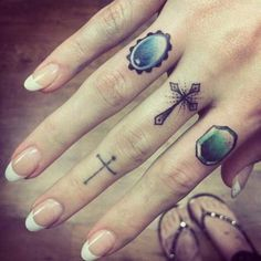 Cute symbols to express who and what the girl likes. #InkedMagazine #fingertattoo #tattoos #Inked #art