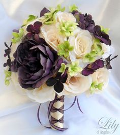PLUM AND IVORY FLOWERS | ... Bouquet Set Decoration Package Flower Plum Eggplant Green | eBay