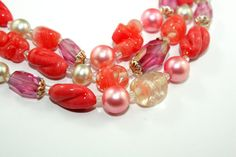 Vintage Faux Pearl, Coral Venetian bead, & Crystal necklace. 3 strand. Signed Japan on Etsy, $15.00