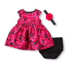 The Children's Place | Baby Girls Sleeveless Rose Jacquard Dress Flower Headwrap And Bloomers Set