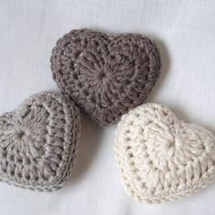 lavender hearts, set of three organic cotton hearts Crochet hearts filled with lavender would be an elegant Valentine's Day gift.Crochet hearts filled with lavender would be an elegant Valentine's Day gift. Diy Tricot Crochet, Crochet Amigurumi, Crochet Motifs, Crochet Home, Love Crochet, Learn To Crochet, Crochet Gifts, Crochet Flowers, Crochet Stitches
