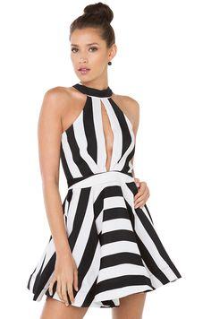 3106403c86 Flirty Black White Striped Sleeveless Mini Skater Dress