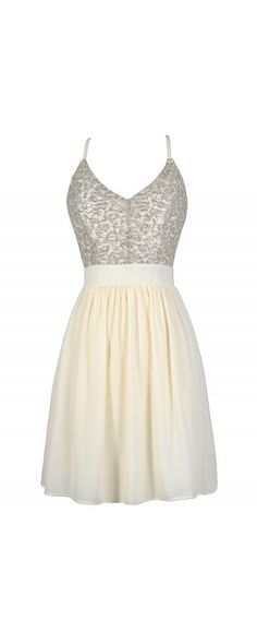 Glisten To Me Sequin Dress in Ivory  www.lilyboutique.com