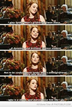 Emma Stone: WHOSE THE BEST PERSON IN AMAZING SPIDERMAN BESIDES ANDREW GARFIELD HIMSELF!!!!