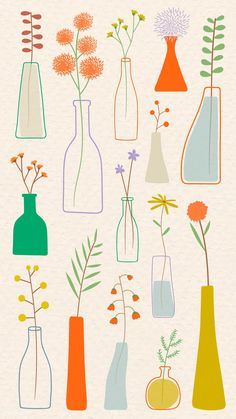 Download premium vector of Colorful doodle flowers in vases on beige