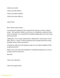 cover letter template receptionist cover coverlettertemplate letter receptionist template