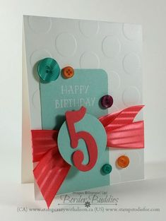 """Number of years stamp set, large numbers framelits Dies, watermelon wonder 1"""" stitched satin ribbon.#stampinup www.stampstodiefor.com"""