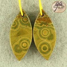 1 Pair Natural Genuine Gemstone Ocean Jasper  Pendant Earrings Bead