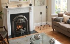 The WINDSOR can be used as a fireplace system for new construction or as a gas insert into an existing fireplace. (Fits into very small fireplaces) Unique coal effect fire and English style cast ir… Fireplace Built Ins, Fireplace Inserts, Fireplace Design, Fireplace Mantels, Small Gas Fireplace, Fireplace Ideas, Fireplace Cover, Craftsman Fireplace, Houses