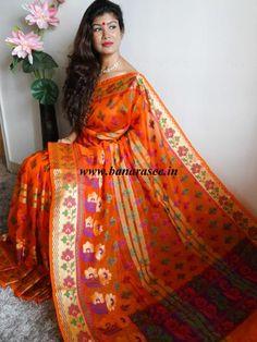 Banarasee Cotton Silk Saree Resham Floral Buti Paithani Border-Orange