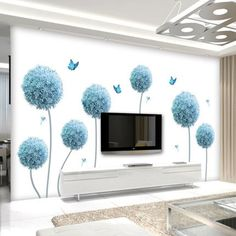 Large Dandelion Vinyl Wall Sticker DIY Flower Wallpaper TV Wall Living Room Home Decoration Poster Diy Wall Design, 3d Wallpaper Tv, Living Room Wall, Tv Wall, Wallpaper Living Room, Vinyl Room, Vinyl Wall Stickers, Living Room Murals, Home Decor