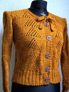 cardigan 1940s style copper brown
