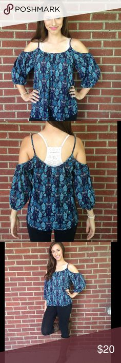 """HPBlue boho top This trendy """"cold shoulder"""" top is complete with a blue and purple kaleidoscope print. Made of rayon. Gorgeous for the summer! Would love to keep but it's too big on me  Francesca's Collections Tops Blouses"""