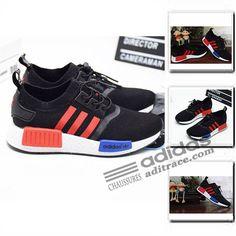 info for 0e7fe 724f8 Adidas NMD R1 Primeknit Originals Chaussure Enfant Noir Rouge  aditrace