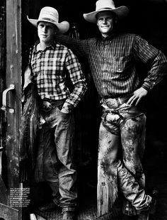 GQ UK — JANUARY 2011 AHEAD OF THE PACK photographer: Guzman stylist: Jo Levin Models: Werner Schreyer (featuring cowhands: Buck, Phil Sr., and Phil Jr.)