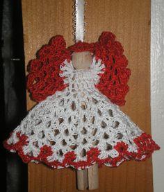 clothespin angel  free pattern http://www.momsloveofcrochet.com/clothespinangel.html