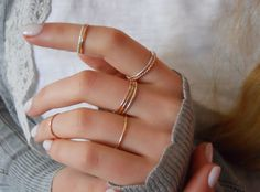 *** This listing is for 3 hammered rings - Rose gold filled, Yellow gold filled, Sterling silver***  3 Skinny hammered rings, 3 colors, handmade to