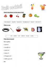 English worksheet: cocktail
