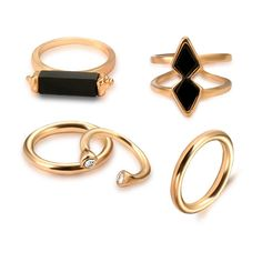 c7a07af6dc2 Vintage 5 PCS Ring Set Punk Silver Color Stone Rings For Women Bead Finger  Gold Color