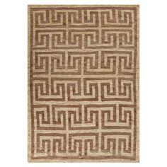 Woven hemp rug with a Greek key motif. Handcrafted in India.  Product: RugConstruction Material: 100% Jute