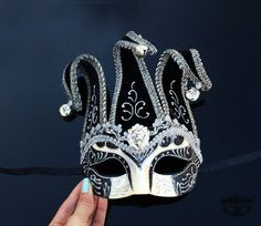 Mens Masquerade Mask, Jester Mask, Masquerade Mask, Mardi Gras Mask, Venetian Mask w/ Silk Floral Embroidery and Bells [Black/Silver]