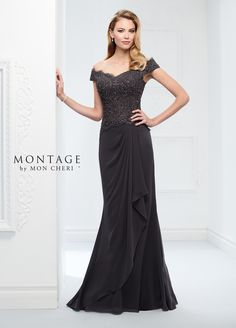 0071a332f04 Chiffon and Lace Fit and Flare Gown - Montage by Mon Cheri 116937