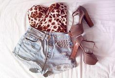 leopard print bodice. studded shorts