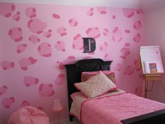 Do you want something unique for your bedroom? Try to cheer up with animal print decoration. Try cheetah print bedroom and feel amazing sensation. Cheetah Print Bedroom, Leopard Wall, Pink Cheetah, Kid Spaces, Living Spaces, Bedroom Decor, Bedroom Ideas, Room Paint, Smart Home