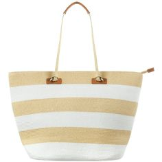Phase Eight Debbie Stripe Beach Bag ($45) ❤ liked on Polyvore featuring bags, handbags, tote bags, striped tote, straw beach bag, straw tote bags, handbags totes and straw hand bags