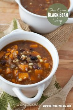 Healthy, hearty, and so easy to make. Slow Cooker Black Bean Soup - Eazy Peazy Mealz