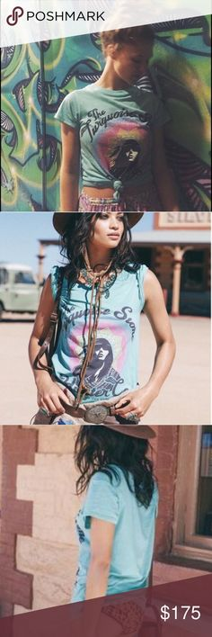Spell and The Gypsy Turquoise Stone Hunter Tee M NWT never worn, in original packaging 😍👌🏽 We're always on the hunt for beautiful Turquoise, so we added this little number in at the last minute. This super soft turquoise Pima Cotton tee will be a staple this season. Featuring a bold original illustration on the front, it's definitely one of those tees to wear until it's thread bare! Spell & The Gypsy Collective Tops
