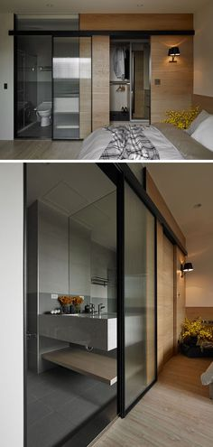this ensuite bathroom has a glass door to let natural light through to the bathroom - Masterschlafzimmerdesignplne