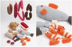 Jeg husker tydeligt, at jeg flere gange har forsøgt at kaste mig over strikkeprojekter, som aldrig er blevet til mere end højst en halv grydelap, som vist nok også var ret grim. Jeg har altså bare ... Crochet Food, Crochet For Kids, Diy Crochet, Food Patterns, Play Food, Yarn Crafts, Kids Toys, Doll Clothes, Baby Kids