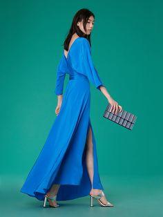 Long-Sleeve Floor-Length Wrap Dress