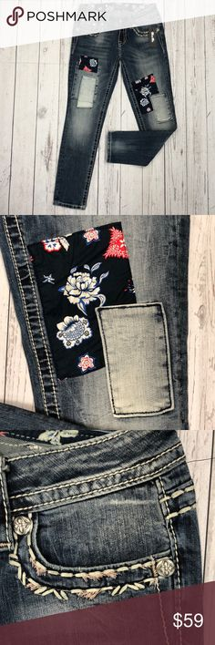 Miss Me Patchwork Ankle Skinny Super cute patches on a medium wash ankle skinny! Signature Fit. Miss Me Jeans Ankle & Cropped